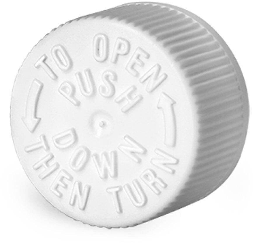 Plastic Caps, White Child Resistant Caps w/ LDPE Plug Liners For Purse Pak Vials