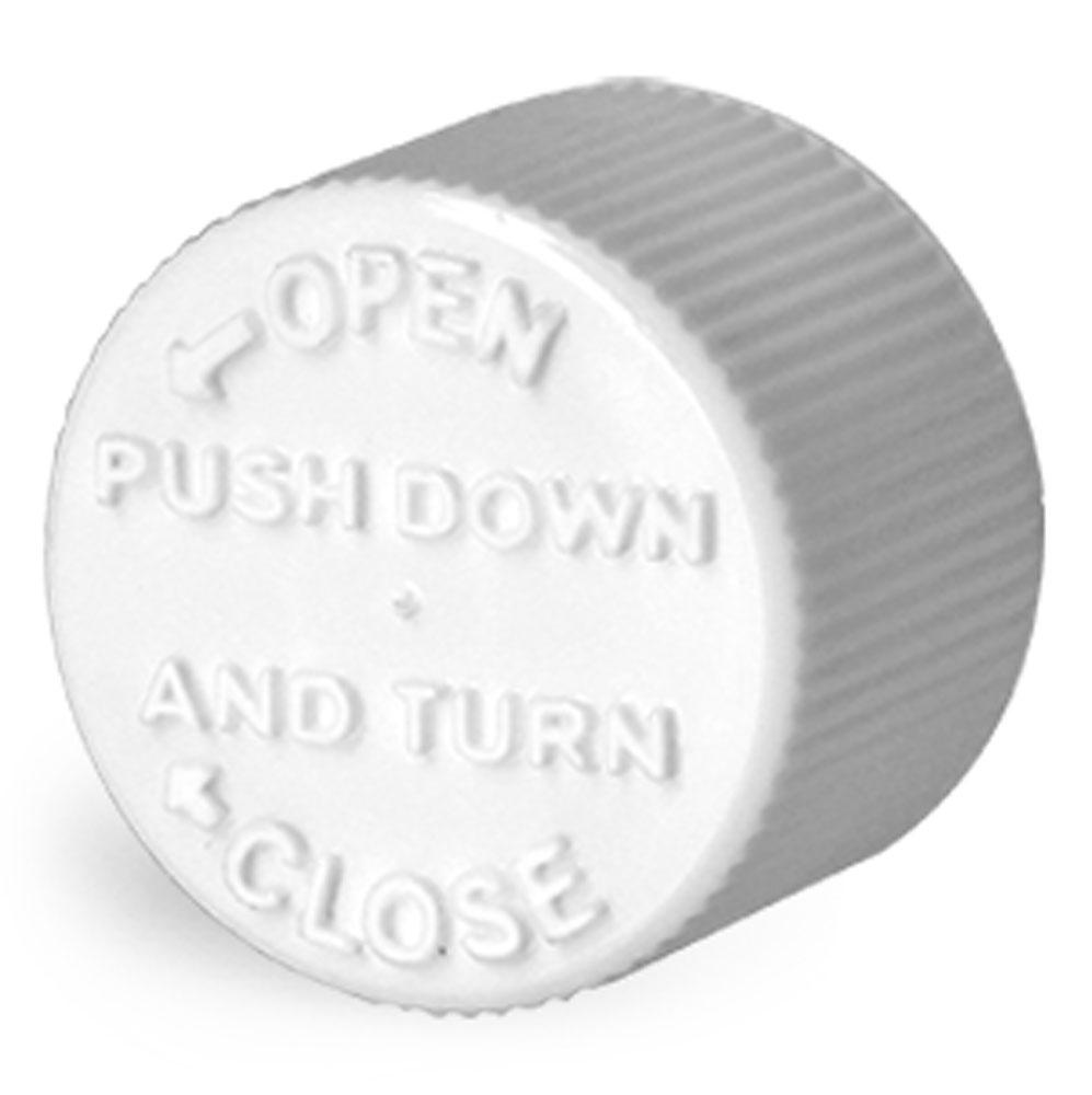 16 mm Plastic Caps, White Child Resistant Caps w/ LDPE Plug Liners For Purse Pak Vials