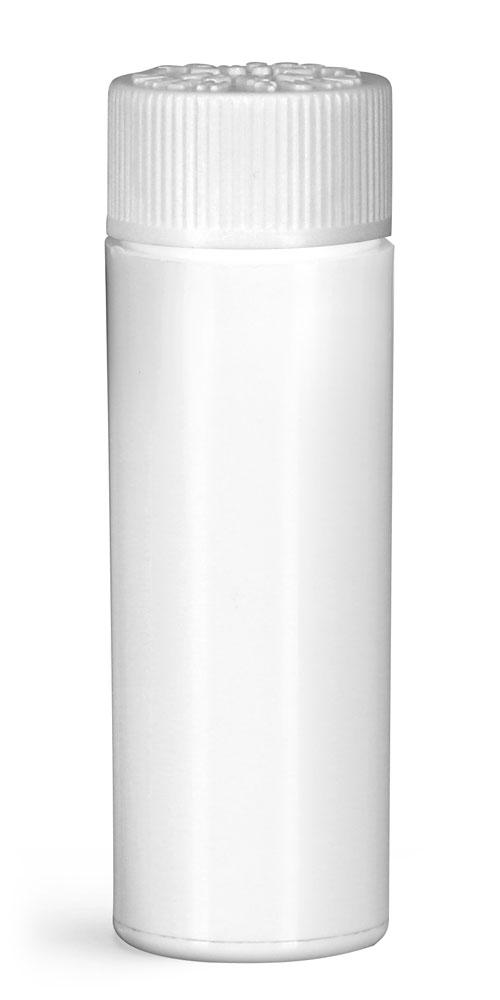 20 mm Plastic Vials, White Polypropylene Purse Pak Vials w/ White Child Resistant Caps and Plug Liners