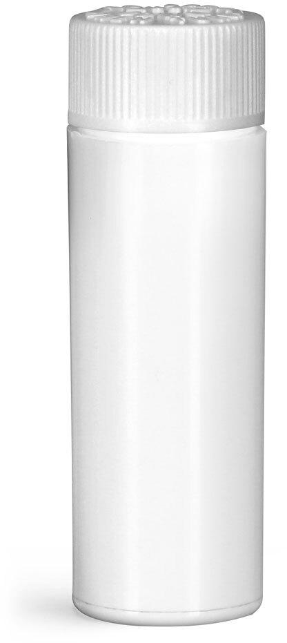 Plastic Vials, White Polypropylene Purse Pak Vials w/ White Child Resistant Caps and Plug Liners