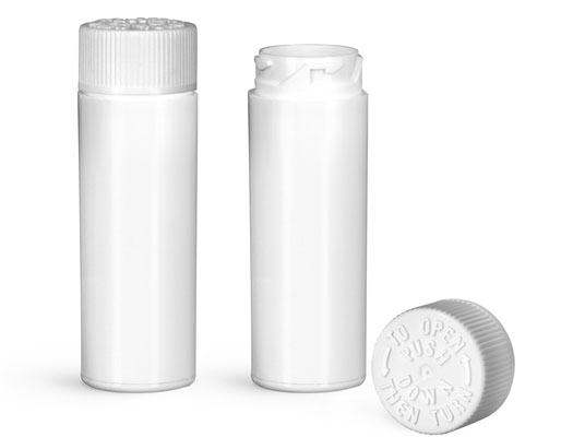 Plastic Vials, White Polypropylene Purse Pak Vials w/ White Child Resistant Caps and Plug Liners