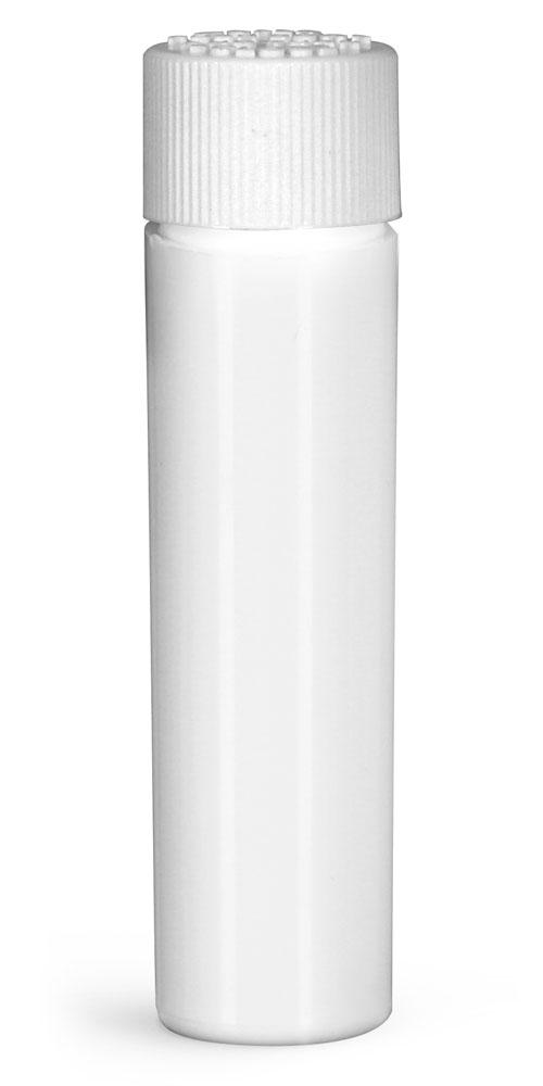 16 mm Plastic Vials, White HDPE Purse Pak Vials w/ White Child Resistant Caps and Plug Liners