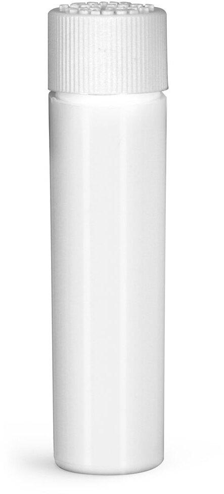 Plastic Vials, White HDPE Purse Pak Vials w/ White Child Resistant Caps and Plug Liners