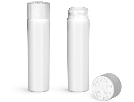 Plastic Vials, White HDPE Purse Pak Vials w/ White Child Resistant Caps and Plug Liners