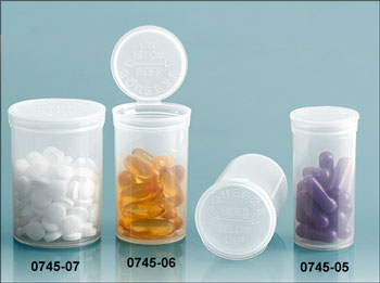 Hinge Top Containers, Natural Polypro Plastic Squeeze Top Vials
