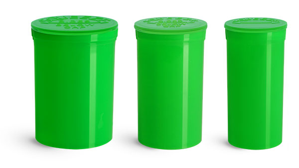 Plastic Vials, Green Polypropylene Pop Top Child Resistant Vials