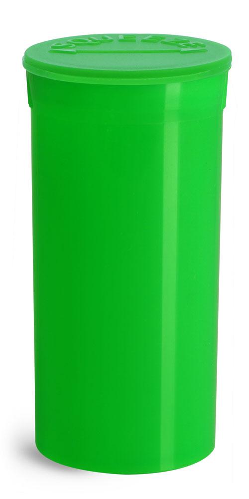 13 Dram Hinge Top Containers, Green Polypropylene Plastic Pop Top Vials