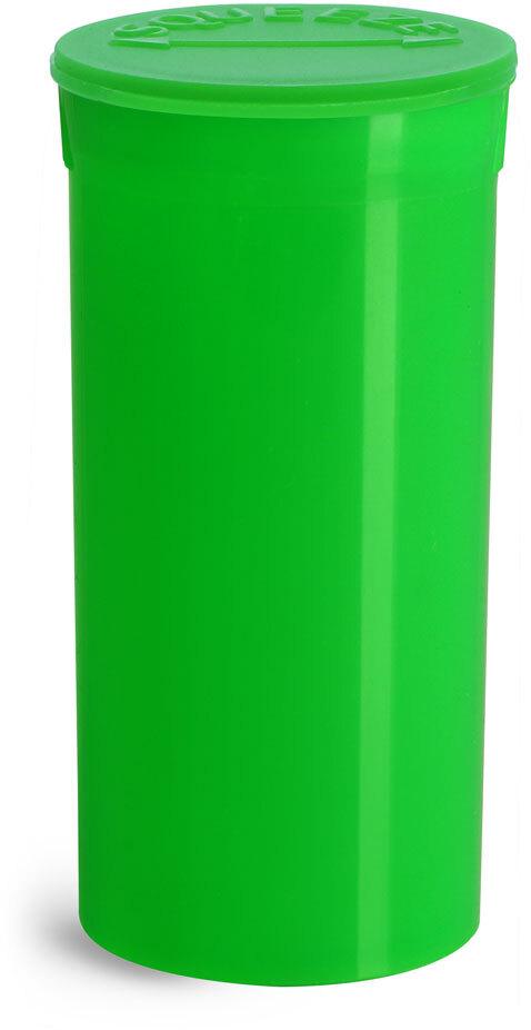 Hinge Top Containers, Green Polypropylene Plastic Pop Top Vials