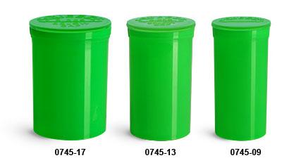Plastic Vials, Green Polypropylene Pop Top Child Resistant Vials