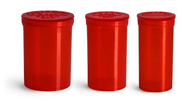 Plastic Vials, Red Polypropylene Pop Top Child Resistant Vials