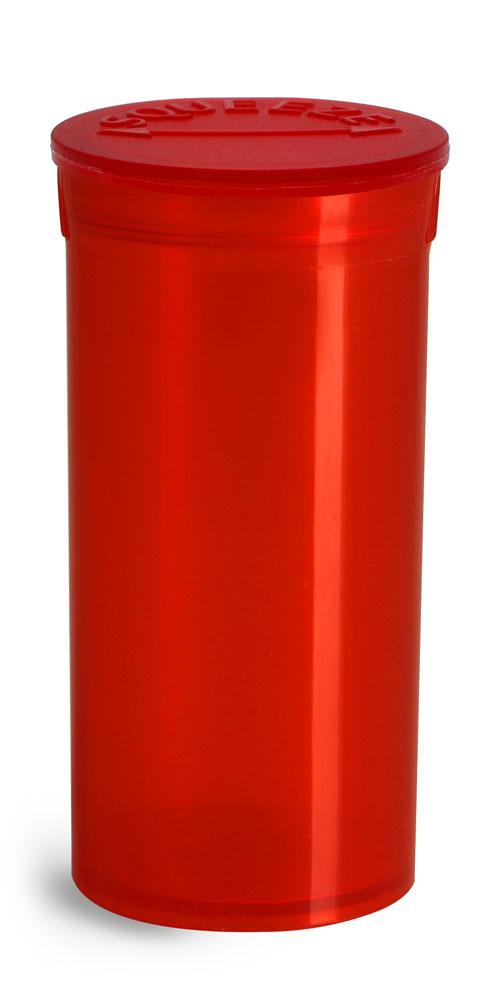 13 Dram Hinge Top Containers, Red Polypropylene Plastic Pop Top Vials