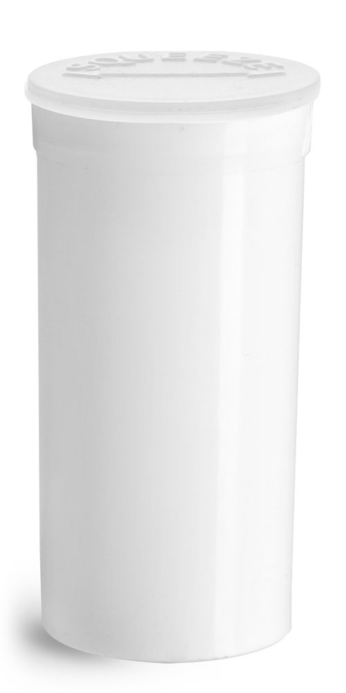 13 Dram Hinge Top Containers, White Polypropylene Plastic Pop Top Vials