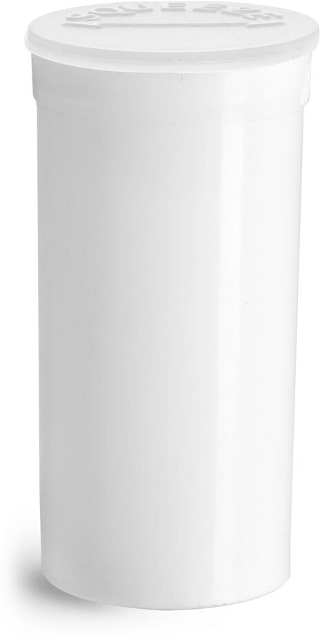 Hinge Top Containers, White Polypropylene Plastic Pop Top Vials