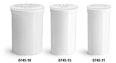Plastic Vials, White Polypropylene Pop Top Child Resistant Vials