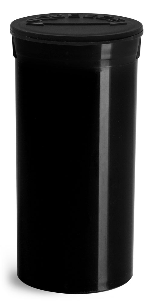 13 Dram Hinge Top Containers, Black Polypropylene Plastic Pop Top Vials
