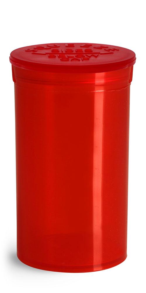 19 Dram Hinge Top Containers, Red Polypropylene Plastic Pop Top Vials