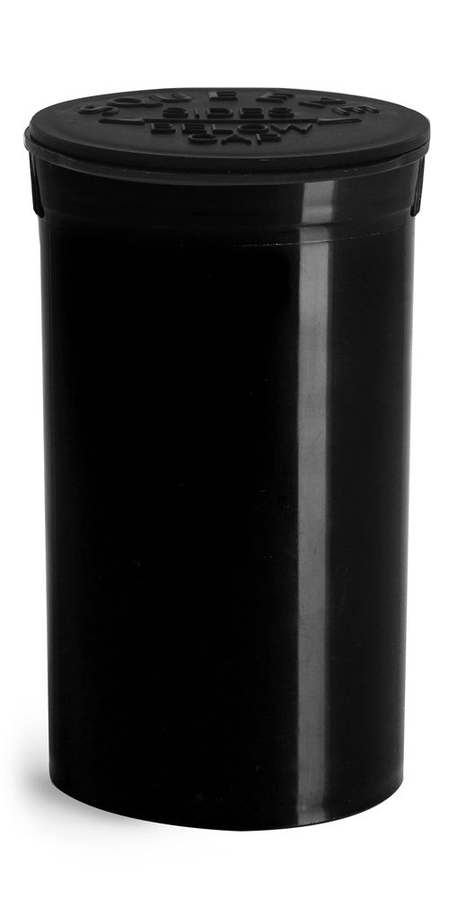 19 Dram Hinge Top Containers, Black Polypropylene Plastic Pop Top Vials