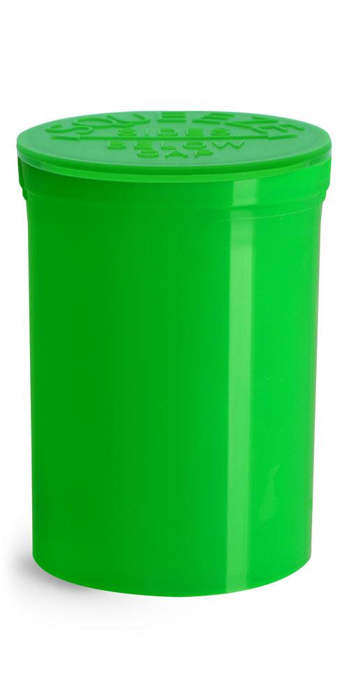 30 Dram Hinge Top Containers, Green Polypropylene Plastic Pop Top Vials
