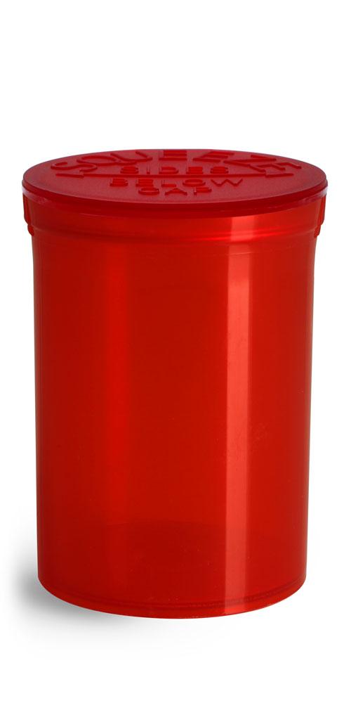30 Dram Hinge Top Containers, Red Polypropylene Plastic Pop Top Vials
