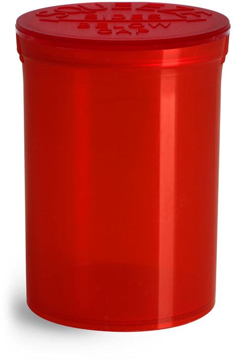 Hinge Top Containers, Red Polypropylene Plastic Pop Top Vials
