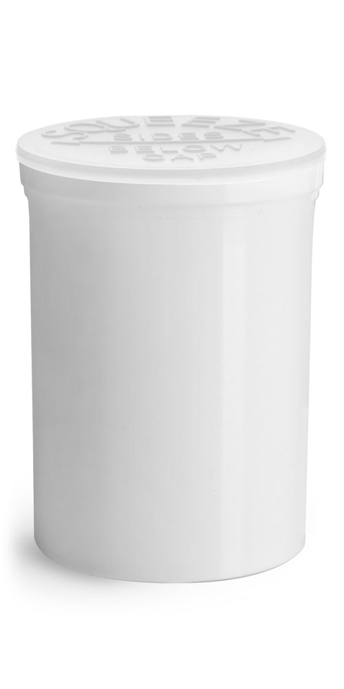 30 Dram Hinge Top Containers, White Polypropylene Plastic Pop Top Vials