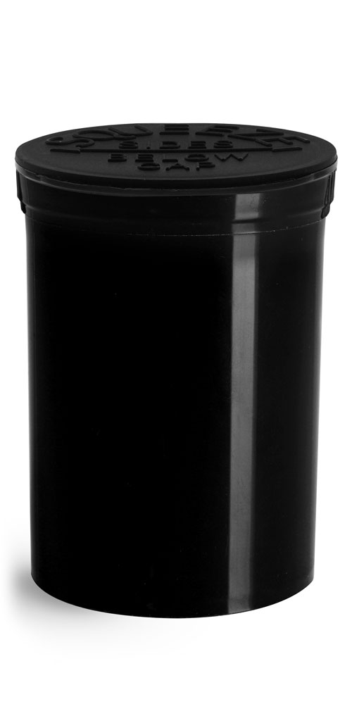 30 Dram Hinge Top Containers, Black Polypropylene Plastic Pop Top Vials