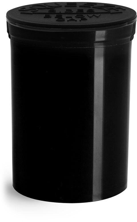Hinge Top Containers, Black Polypropylene Plastic Pop Top Vials