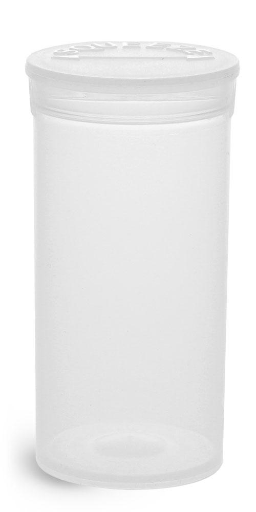 13 Dram Hinge Top Containers, Natural Polypropylene Plastic Pop Top Vials