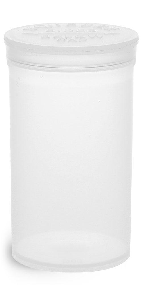 19 Dram Hinge Top Containers, Natural Polypropylene Plastic Pop Top Vials