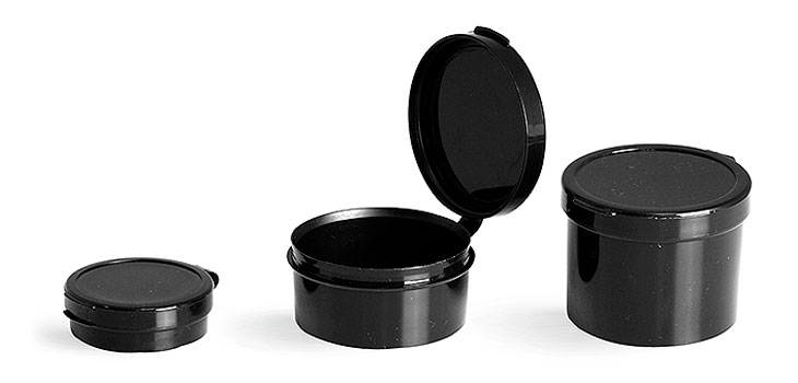 Hinge Top Containers, Black Hinge Top Pill Pods