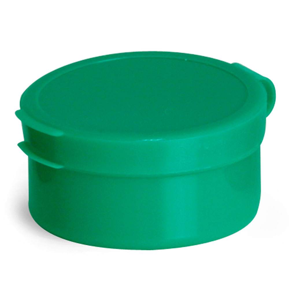 1/2 oz Green LDPE Hinge Top Polycons, Pill Pods