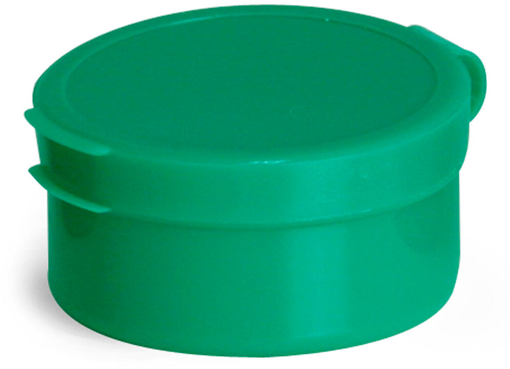 Green LDPE Hinge Top Polycons, Pill Pods