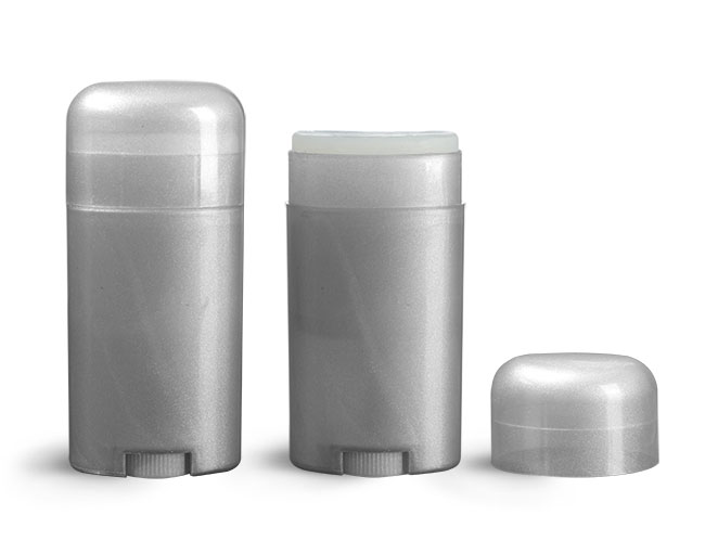 Deodorant Containers, Silver Polypropylene Deodorant Tubes w/ Silver Dome Caps