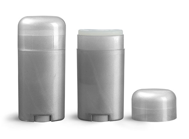 Deodorant Containers, 2.65 oz Silver Polypropylene Deodorant Tubes w/ Silver Dome Caps