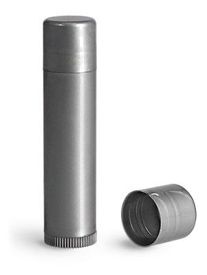 Lip Balm Tubes, Silver Polypropylene Lip Balm Tubes w/ Caps