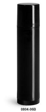 Original Black Polypropylene Lip Balm Tubes w/ Black Caps