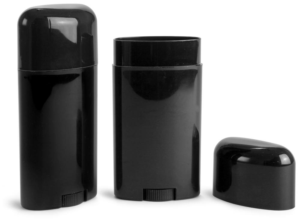 2.65 oz Black Polypro Deodorant Tubes w/ Black Caps