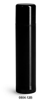 New Black Polypropylene Lip Balm Tubes w/ Black Caps
