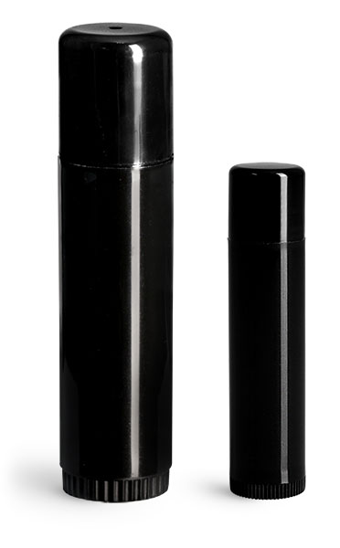 .15 oz  Black Polypropylene Lip Balm Tubes w/ Caps