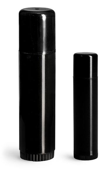 Lip Balm Tubes, Black Polypropylene Lip Balm Tubes w/ Caps