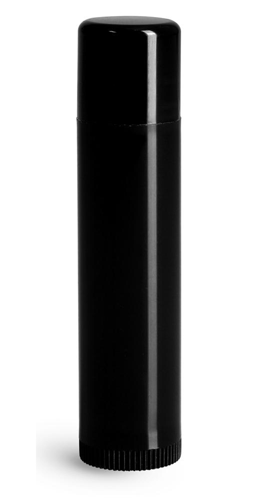 Black Polypropylene Lip Balm Tubes w/ Caps