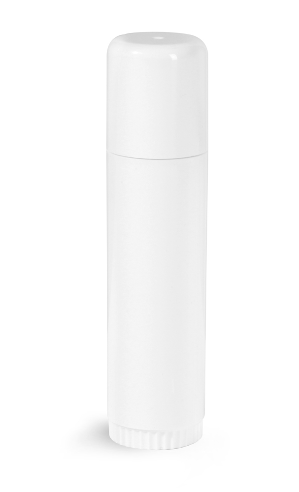 .5 oz White Plastic Lip Balm Tubes w/ Caps