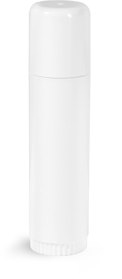 White Plastic Lip Balm Tubes w/ Caps