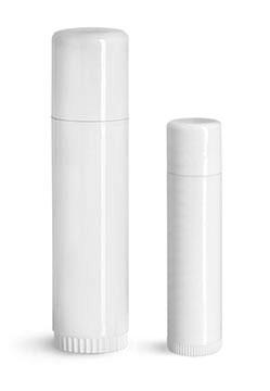 Lip Balm Tubes, White Lip Balm Tubes w/ Caps