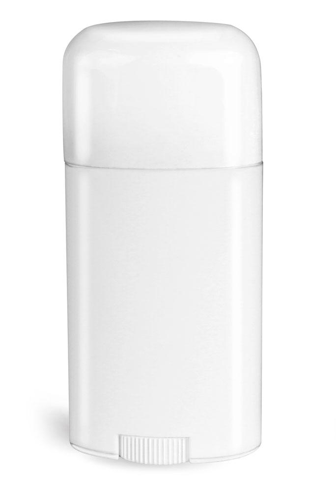 2.65 oz White Polypro Oval Deodorant Tubes w/ White Caps
