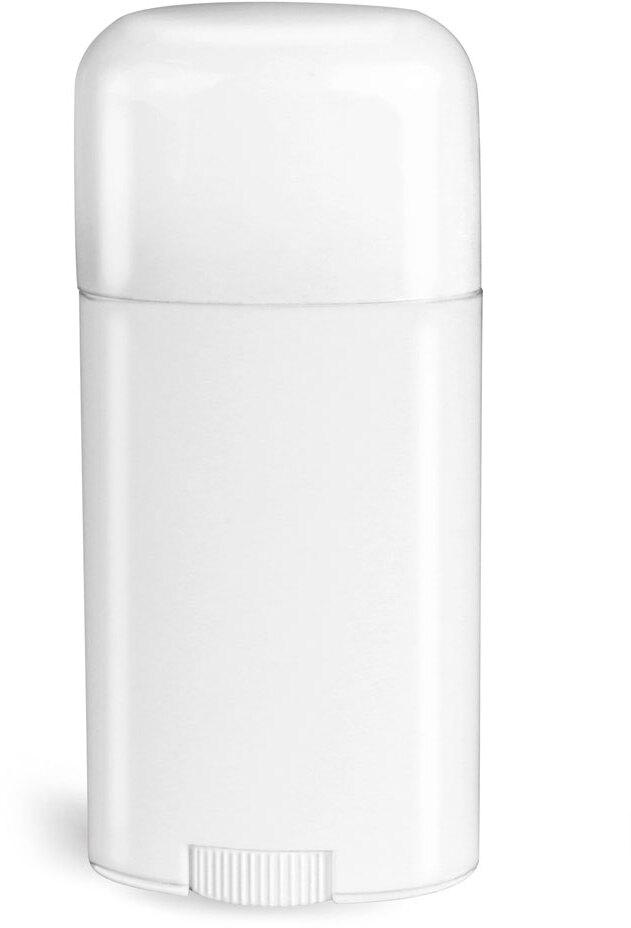 White Polypro Oval Deodorant Tubes w/ White Caps