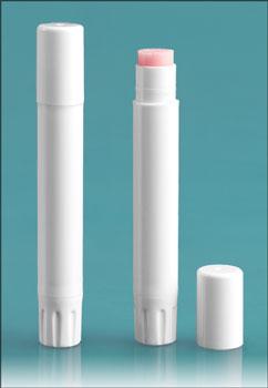 Lip Balm Tubes, White Slim Line Lip Balm Tubes w/ Caps