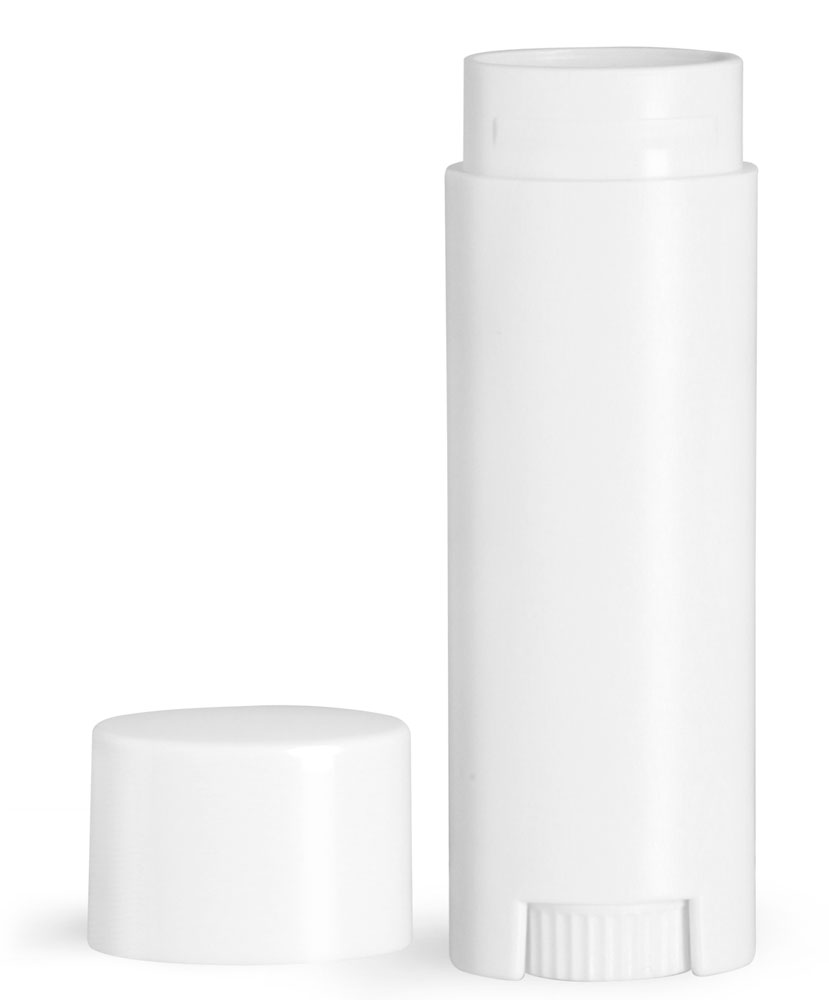 Lip Balm Tubes, White Oval Lip Balm Tubes w/ Caps