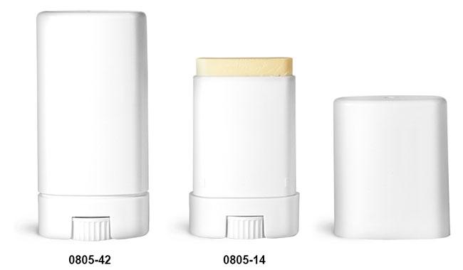 Deodorant Containers, White Oval Deodorant Tubes w/ Caps