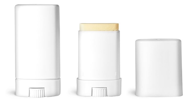 Deodorant Containers, White Oval Deodorant Tubes w/ Caps